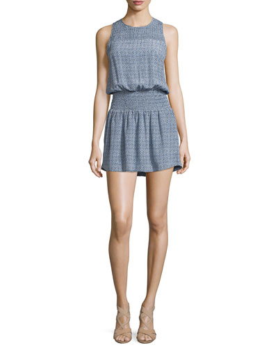 Kiernan Tile-Print Silk Dress, Faded Sky