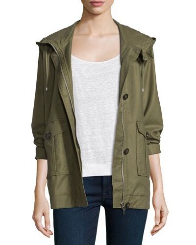 Camea Hooded 3/4-Sleeve Jacket, Olive