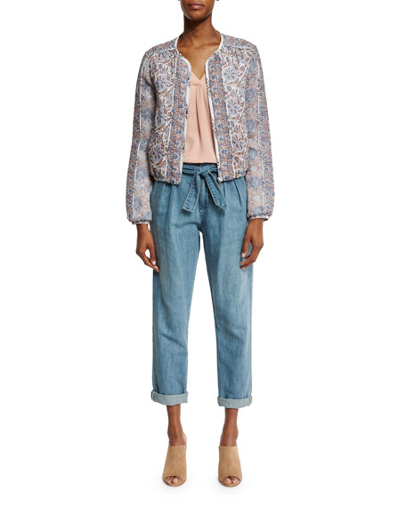 Lucilia Denim Paperbag-Waist Pants, Sea Wash