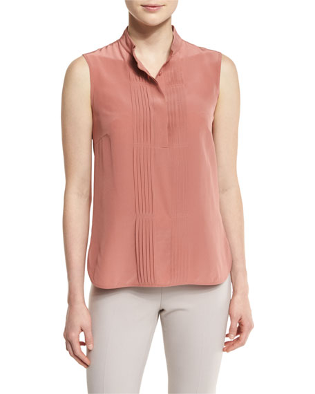 Peserico Stand-Collar Tuxedo-Front Cami, Blush