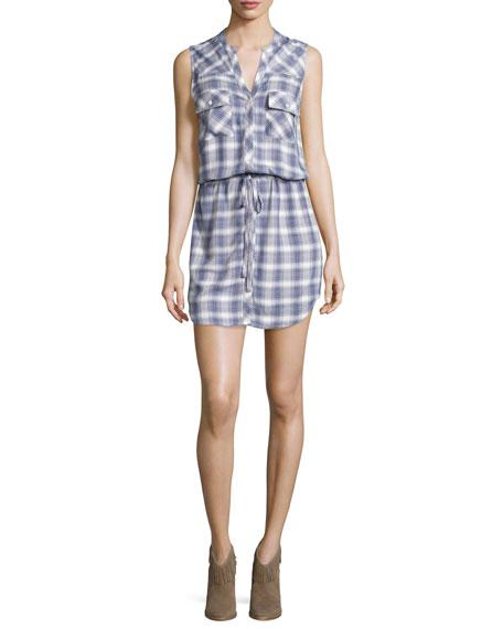Joie Noraha Plaid Sleeveless Shirtdress, Porcelain/Blue