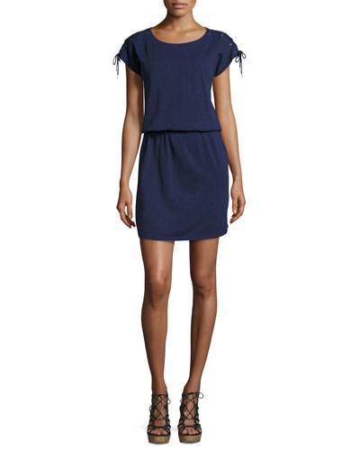 Daleyza Cap-Sleeve Slub Dress, Peacoat