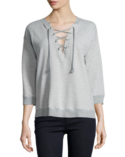 Lace-Up 3/4-Sleeve Sweatshirt, Heather Grey
