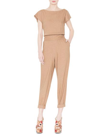 Kobi Cap-Sleeve Linen-Blend Jumpsuit, Tan