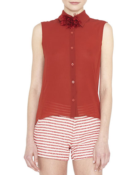 Alice + Olivia Teri Sleeveless Sheer Button-Front Top, Red