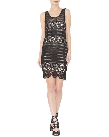 Alice + Olivia Jeannette Sleeveless Crochet Sheath Dress, Black