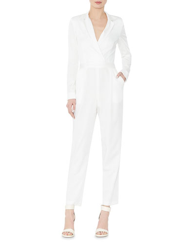 Violetta Long-Sleeve Tuxedo Jumpsuit, Cream