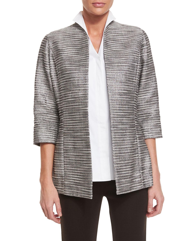 dd27c9224a3 Misook Plus Size Silver Linings Metallic Jacket