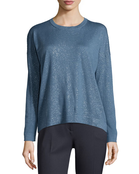 Long-Sleeve Shimmery Top, Blue Top Reviews