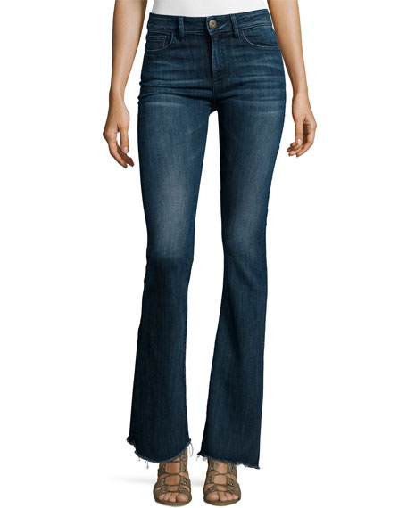 DL1961 Premium Denim Heather High-Waist Flare-Leg Jeans, Triton
