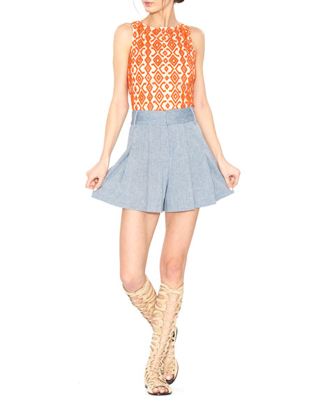 Pire Sleeveless Beaded Crop Top, Orange