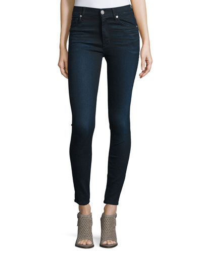 Barbara High-Waist Super-Skinny Denim Jeans, Night Vision
