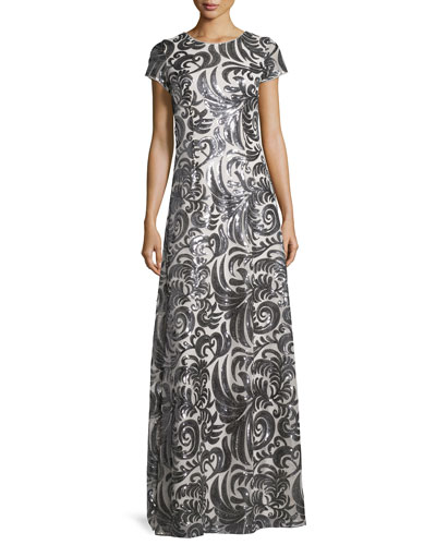 Simone Short-Sleeve Sequined Scroll A-Line Gown
