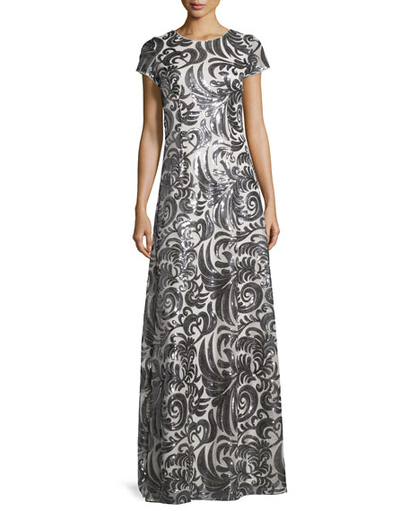 Donna Morgan Simone Short-Sleeve Sequined Scroll A-Line Gown