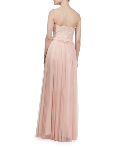 Adeline Strapless Lace Tulle Combo Gown