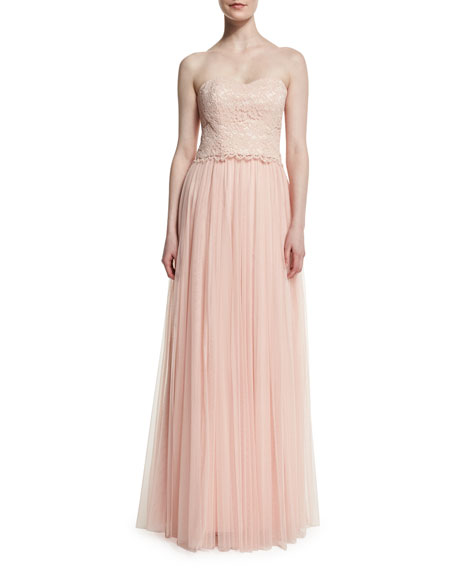 Donna Morgan Adeline Strapless Lace Tulle Combo Gown