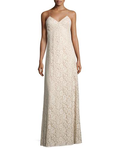 Gia Sleeveless V-Neck Lace Column Gown