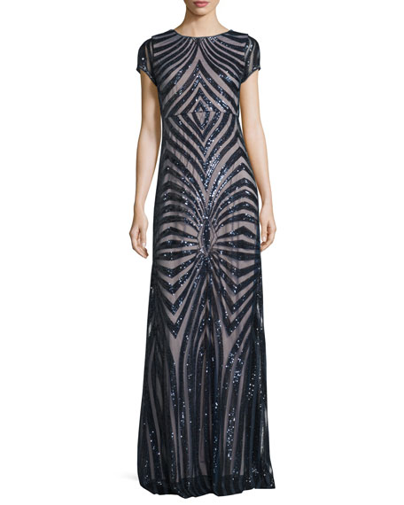 Donna Morgan Isabelle Cap-Sleeve Geometric Sequined Gown