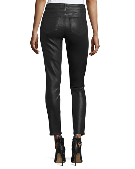 Paige Hoxton Luxe-Coated Skinny Ankle Jeans, Black Fog