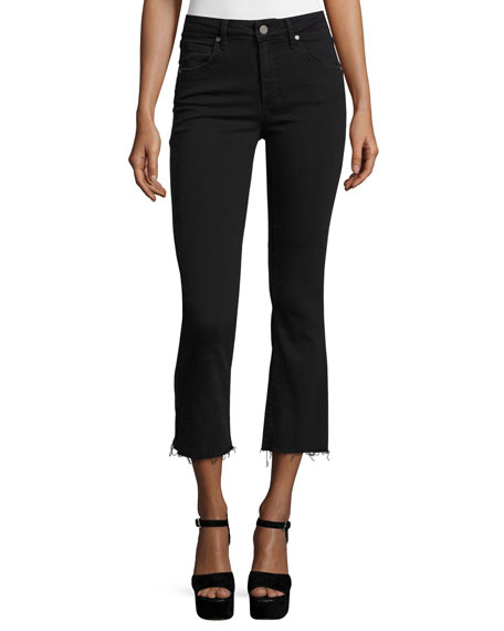 Paige Colette Crop Flare-Leg Jeans w/Raw Hem, Vintage Black