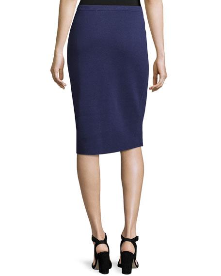 Silk-Cotton Pencil Skirt, Dark Night, Petite