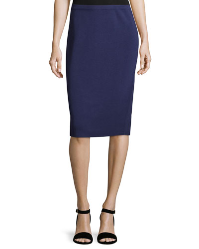 Silk-Cotton Pencil Skirt, Dark Night, Petite