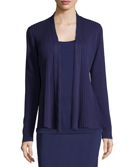 Eileen Fisher Silk/Organic Cotton Ribbed Cardigan, Dark Night