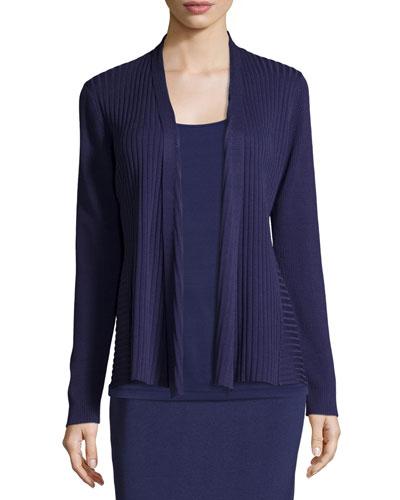 Silk/Organic Cotton Ribbed Cardigan, Dark Night, Plus Size