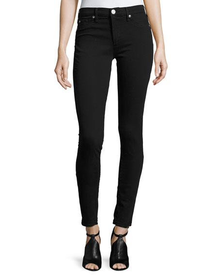 True Religion Halle Mid-Rise Super-Skinny Jeans, Jet Black