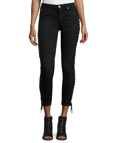 Halle Lace-Up Cropped Skinny Jeans, Pepper Clean