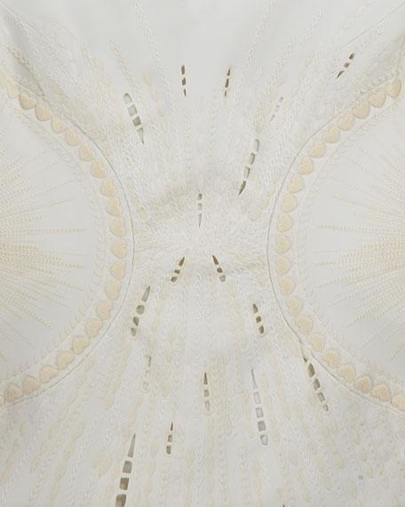 Embroidered Ponte V-Neck Sheath Dress, Ivory