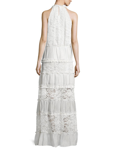 Benette Sleeveless Tiered Lace Maxi Dress, White