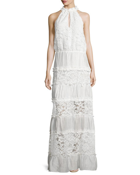 Alexis Benette Sleeveless Tiered Lace Maxi Dress, White