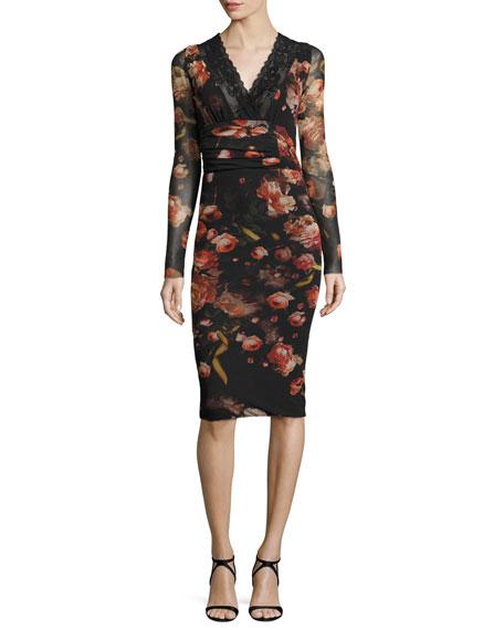 Fuzzi Long-Sleeve Floral-Print Lace-Trim Sheath Dress, Red/Black