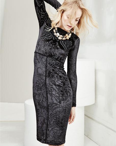 Long-Sleeve Velvet Tattoo Burnout Dress, Black