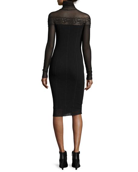 Long-Sleeve Turtleneck Bodycon Dress w/ Sheer Lace Yoke, Black