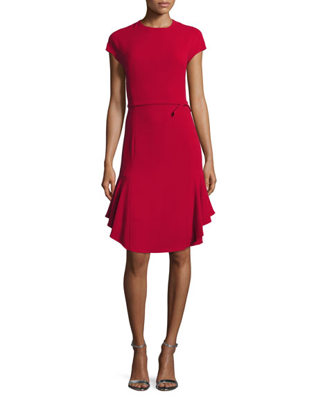 Cap-Sleeve Ponte Fit-and-Flare Cocktail Dress, Garnet