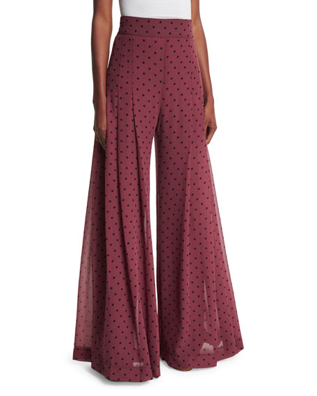 High-Rise Chiffon Polka-Dot Trousers, Burgundy