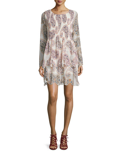 Long-Sleeve Paisley Chiffon Dress, Winter White