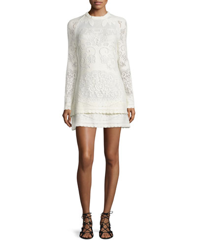 Long-Sleeve Tiered Pointelle Mini Dress, Off White
