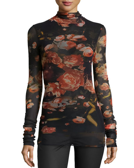 Floral-Print Stretch-Tulle Turtleneck, Black/Red