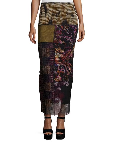 Fuzzi Patchwork Column Skirt, Gardenia