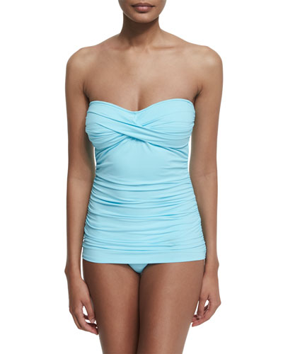 Shirred Twist-Front One-Piece Swimsuit