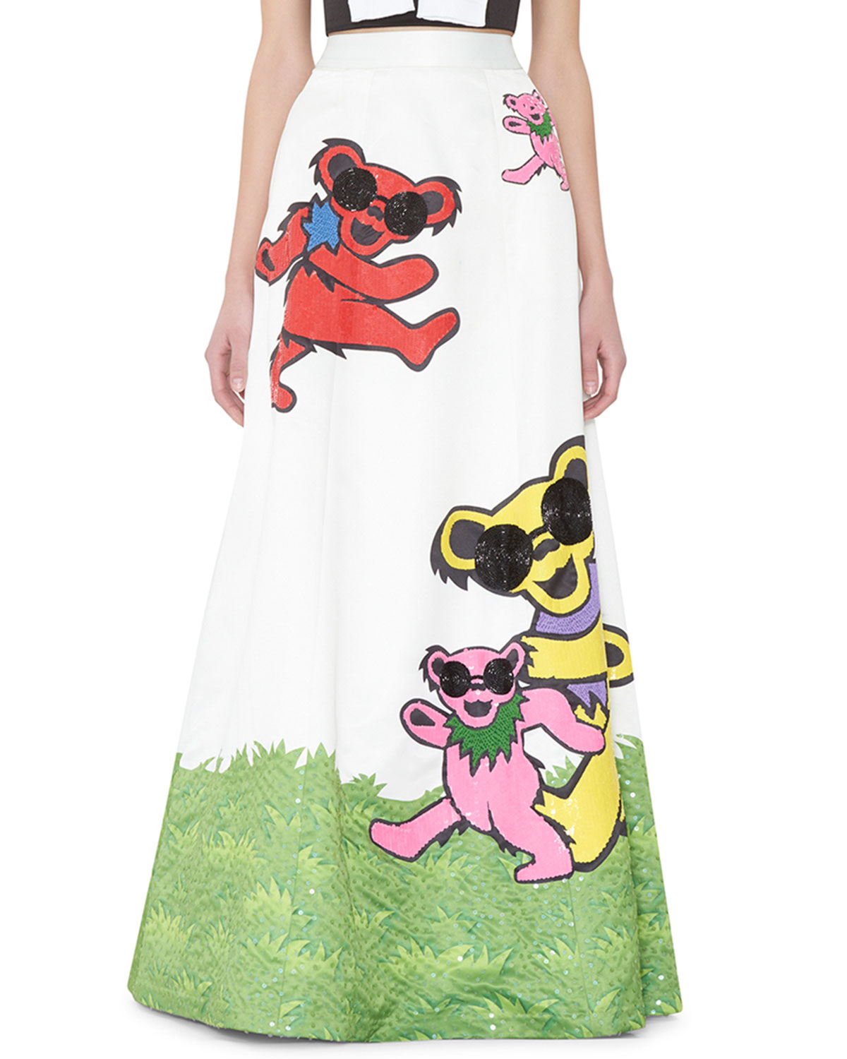 Grateful Dead Bears Embellished Ball Gown Skirt Multicolor
