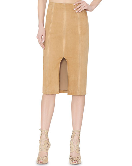 Alice + Olivia Kori Paneled Suede Pencil Skirt, Tan