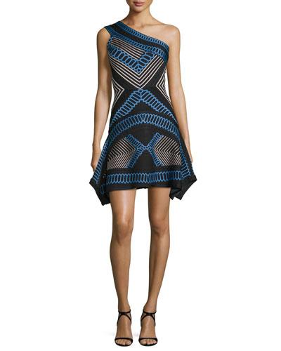 One-Shoulder Flutter-Hem Jacquard Dress, Black Combo