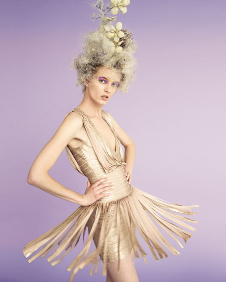 Sleeveless Metallic Fringe Gown, Gold Champagne