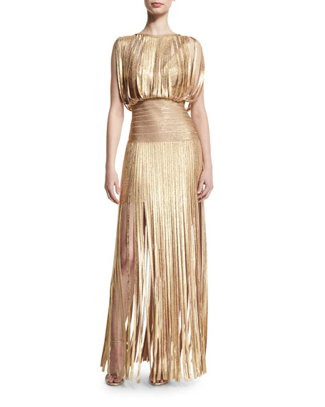 Herve Leger Sleeveless Metallic Fringe Gown, Gold Champagne