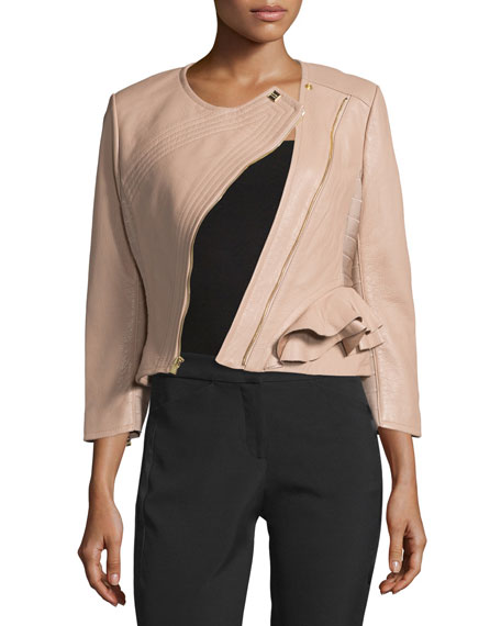 Herve Leger Leather Diagonal-Zip Jacket, Nubuck