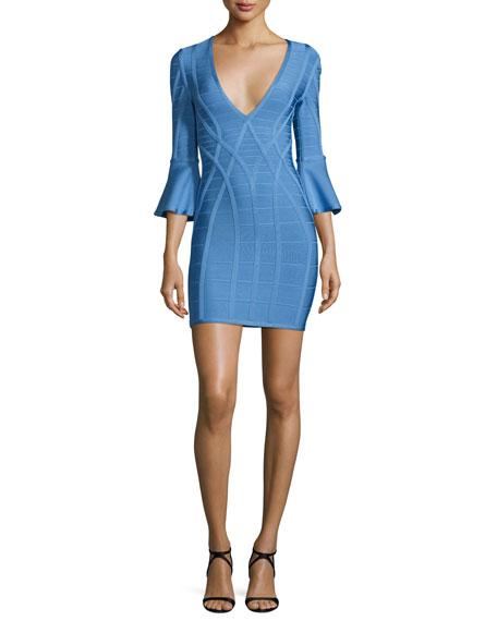 Herve Leger 3/4 Flutter-Sleeve Bandage Dress, French Blue